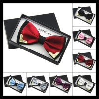 Boutique Metal Head Bow Ties For Groom Men Women Butterfly Solid