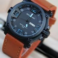 New Jam Tangan Swiss Army Tanggal Hari / Arloji Pria Kulit Analog