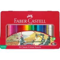 New Pensil Faber Castell 36 Warna ( Classic Tin Case / Kaleng ) 24 Set