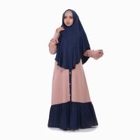 Baju Gamis Set Khimar Syari Zayidan - Sarah series - Peach