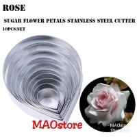CETAKAN MOLD CUTTER FONDANT BUNGA FLOWER ENGLISH ROSE 10 PCS JUMBO