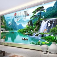 Wallpaper Dinding Custom 3D Air Terjun- Wallpaper Custom Motif Alam