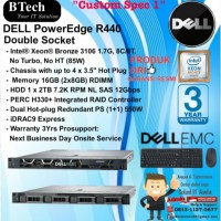 "DELL Server R440 ""Custom Spec 1"" Intel Xeon Bronze 3106 RackSeries"