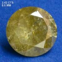 Berlian Certified 2.42 Carat Round Yellow Natural Loose Diamond
