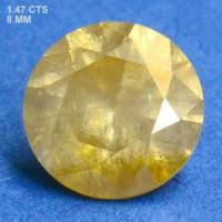 Berlian Certified 1.47 Carat Round Yellow Natural Loose Diamond