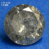 Berlian Certified 1.71 Carat Round Grey Natural Loose Diamond