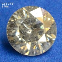 Berlian Certified 0.65 Carat Round Grey Natural Loose Diamond