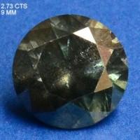 Berlian Certified 2.73 Carat Round Green Natural Loose Diamond