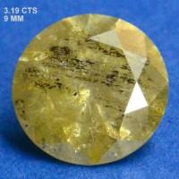 Berlian Certified 3.19 Carat Round Yellow Natural Loose Diamond