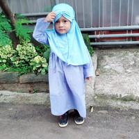 Setelan Gamis Anak Katun Garis untuk usia 1 2 tahun