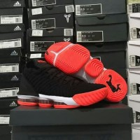 Sepatu Basket Lebron 16 Black Orange White