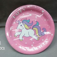 Paper Plate Unicorn Pink 10pcs Piring Kertas 83C11