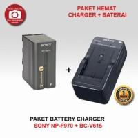 GROSIR PAKET BATERAI SONY NP F970 CHARGER BC V615 Berkualitas