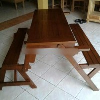Kursi & Meja Lipat Bangku Kayu Jati Untuk Kafe - Resto - Cafe