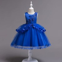 BAJUKIDDIE SAMANTHA DRESS BLUE . ANAK PEREMPUAN PESTA BIRTHDAY IMPORT