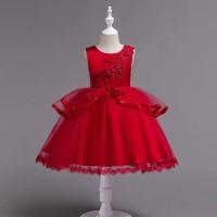 BAJUKIDDIE SAMANTHA DRESS RED . ANAK PEREMPUAN GAUN ULANG TAHUN IMPORT