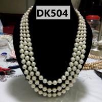 Kalung Mutiara Tiruan Tiga Tingkat Warna Putih - DK504