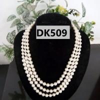Kalung Mutiara Tiruan TIngkat TIga Warna Putih - DK509