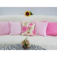 MURAH SET SARUNG BANTAL SOFA uk 40x40 cm Motif flower pink