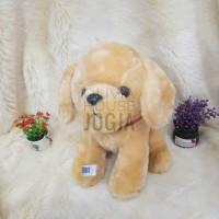 boneka anjing poochon coklat muda bulu soft kalung sabuk merah