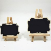 Papan Tulis Mini Wooden Triangle Stand Small Decor Blackboard - AHM221