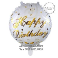 Balon Foil Bulat Happy Birthday Tulisan Gold