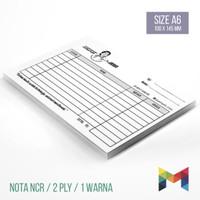 Cetak NCR Buku Nota Kwitansi Faktur Rangkap 2 / Ukuran A6 - 1 Warna