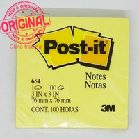 Post-it Notes 654, 3 in x 3 in, Canary Yellow (Per Pad of 100 Pieces)