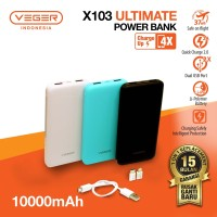 Power Bank VEGER Utimate Slim X103 10000mAh Dual Port USB Output 2.0A