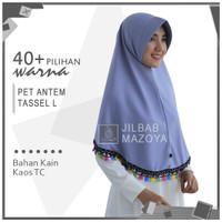 Jilbab Instan Najwa Tassel Size L / Hijab Non Pet Bergo Tassel L