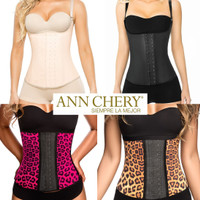 Ann Chery Latex Girdle Body Shaper Beige Black Animal Print Korset