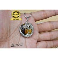 Kalung Liontin Naga Batu Tiger Eye Asli Alam Natural untuk Pria Wanita