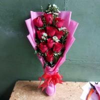 Buket bunga mawar merah asli | florist | bucket | bouquet | wisuda | b