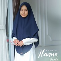 Khimar Hanna Jumbo NAVY Amily Hijab Bahan Soft Georgette