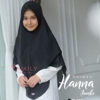 Khimar Hanna Jumbo BLACK Hitam Amily Hijab Bahan Soft Georgette