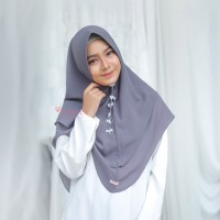 Khimar Hanna Standar CHARCOAL Amily Hijab Bahan Soft Georgette