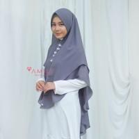 Khimar Hanna Jumbo CHARCOAL Amily Hijab Bahan Soft Georgette