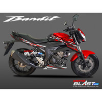 Decal Stiker Suzuki GSX 150 BANDIT BLACK SPORTY RED MOTOBLAST