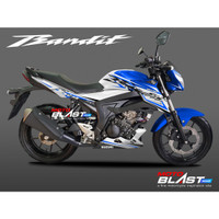 Decal Stiker Suzuki GSX 150 BANDIT WHITE SPORTY BLUE MOTOBLAST