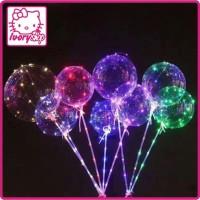 Balon LED / BOBO Balon / Balon Lampu Tumblr + GAGANG -TANPA BATERAI