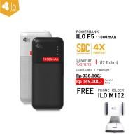 Hippo Power Bank Ilo F5 11000 mAh Free Phone Holder M102 Blue