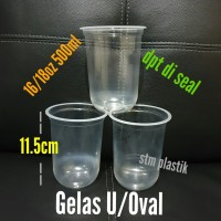 gelas plastik oval/gelas U seal cup/round shape plastic cup No tutup