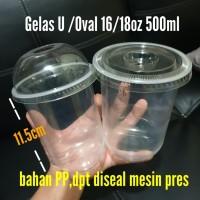 Gelas Plastik Oval/gelas U/PP seal Round Shape Plastic Cup+Tutup/Lid