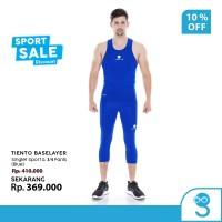 Tiento Tanktop Singlet Sport Pria Celana Legging 3/4 Pants Blue 1 Set
