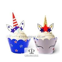 Cupcake Topper & Wrapper / Tusukan Wrapper Hiasan Kue UNICORN -motif A