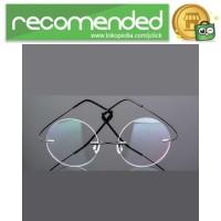 Frame Kacamata Bulat Frameless Titanium Ultra Light - 001 - Hitam