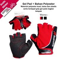 Sarung Tangan Gloves Sepeda Shimano Dengan Gel Half Finger Merah