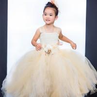 2016 Top kualitas High end Bunga Gadis Dresses Dua benang Dan tiga