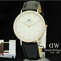 jam tangan dw kulit untuk wanita /563 hitam