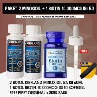 PAKET 2 MINOXIDIL + BIOTIN 10.000Mcg isi 50 softgell